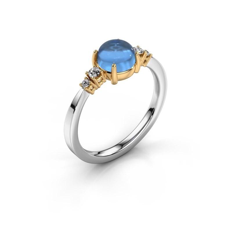 Ring Regine 585 white gold blue topaz 6 mm