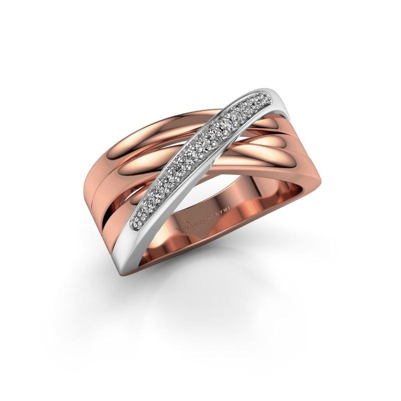 Ring Renna 2 585 rosé goud zirkonia 1 mm