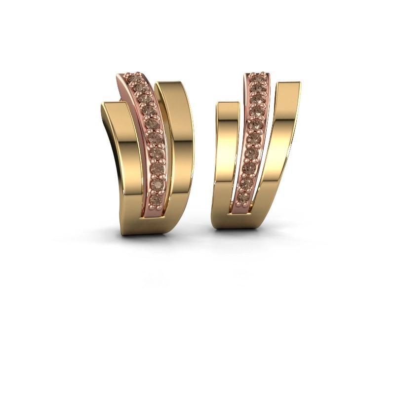Oorbellen Emeline 585 rosé goud bruine diamant 0.20 crt