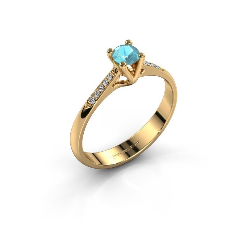 Promise ring Janna 2 375 goud blauw topaas 4 mm