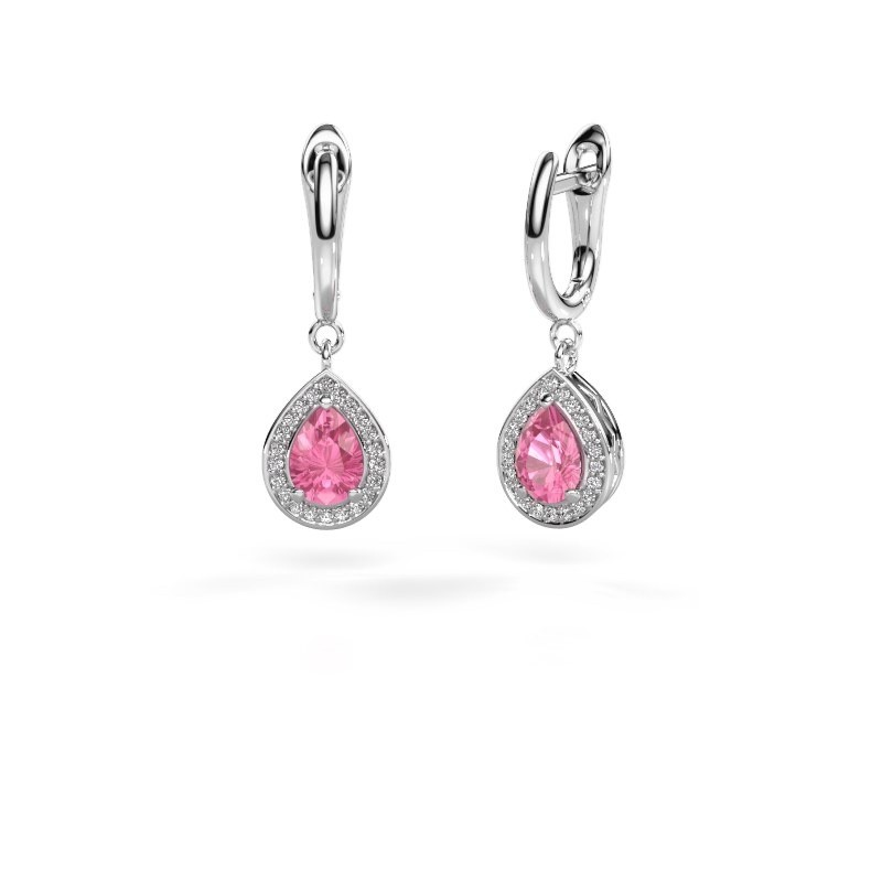 Drop earrings Ginger 1 925 silver pink sapphire 7x5 mm