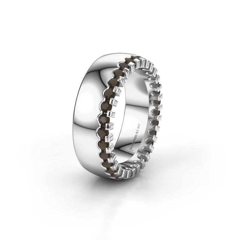Wedding ring WH6120L27C 585 white gold smokey quartz ±7x2.2 mm