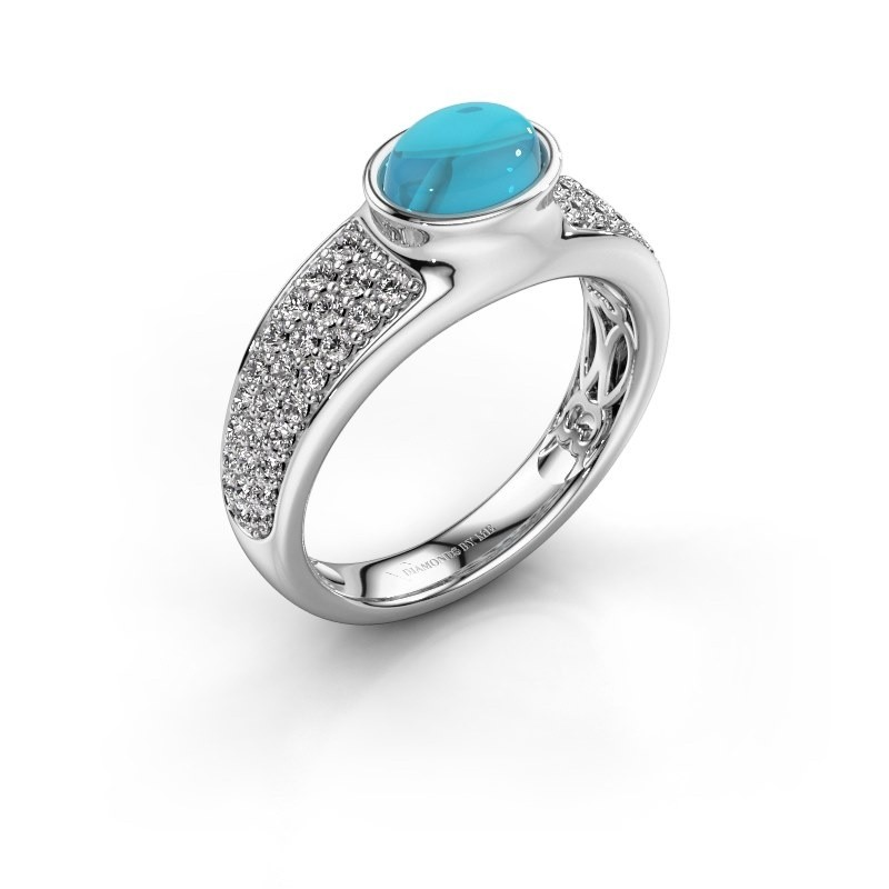 Ring Tatyana 375 witgoud blauw topaas 7x5 mm
