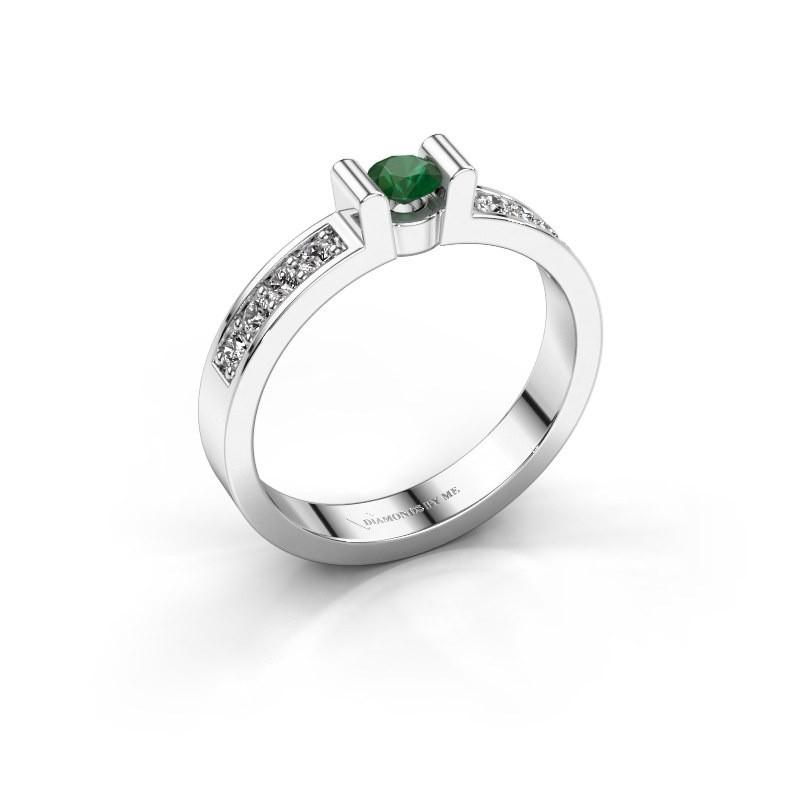 Verlovingsring Sofie 2 925 zilver smaragd 3.4 mm