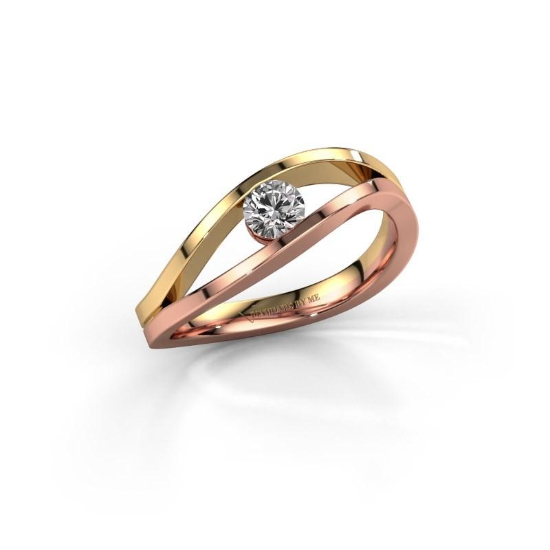 Aanzoeksring Sigrid 1 585 rosé goud diamant 0.25 crt