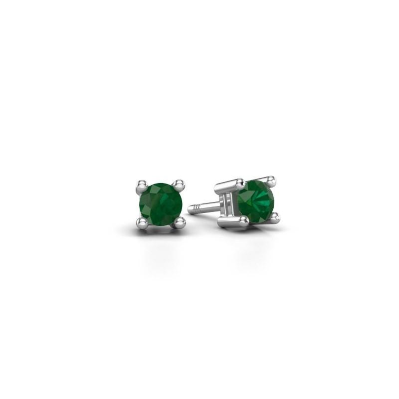 Oorknopjes Eline 950 platina smaragd 4 mm