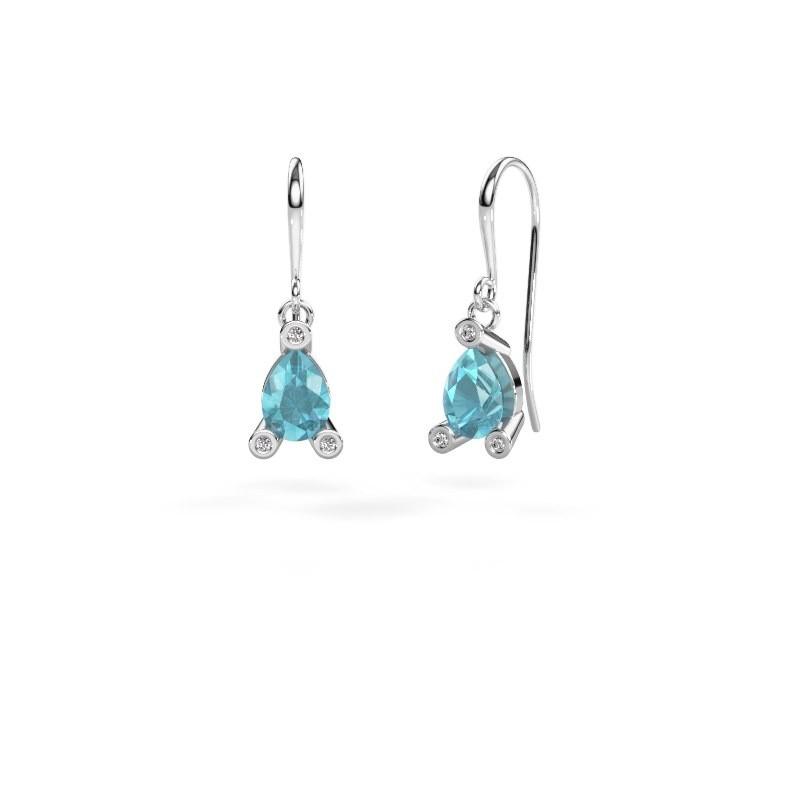 Drop earrings Bunny 1 375 white gold blue topaz 7x5 mm
