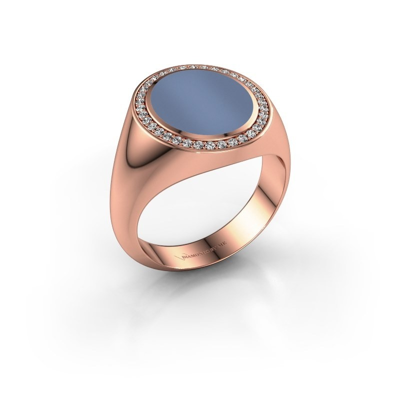 Signet ring Adam 3 375 rose gold light blue sardonyx 13x11 mm