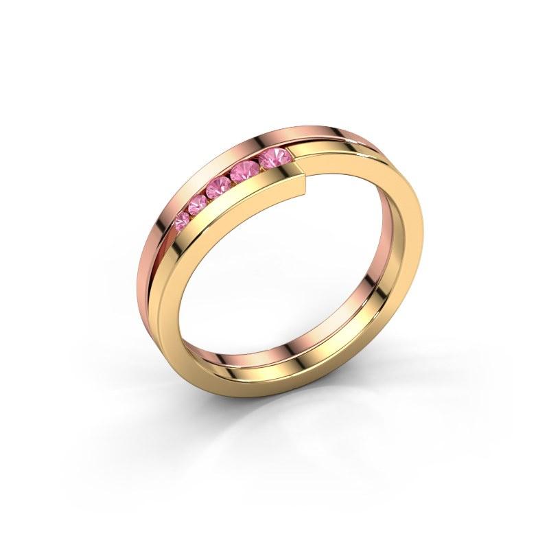 Ring Cato 585 Roségold Pink Saphir 2.2 mm
