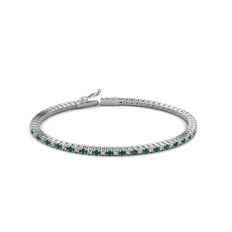Tennisarmband Karin 2 mm 585 witgoud smaragd 2 mm
