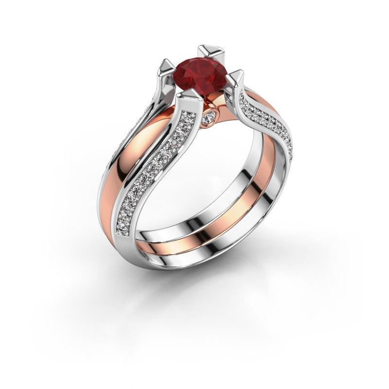 Engagement ring Nadine 585 rose gold ruby 5 mm