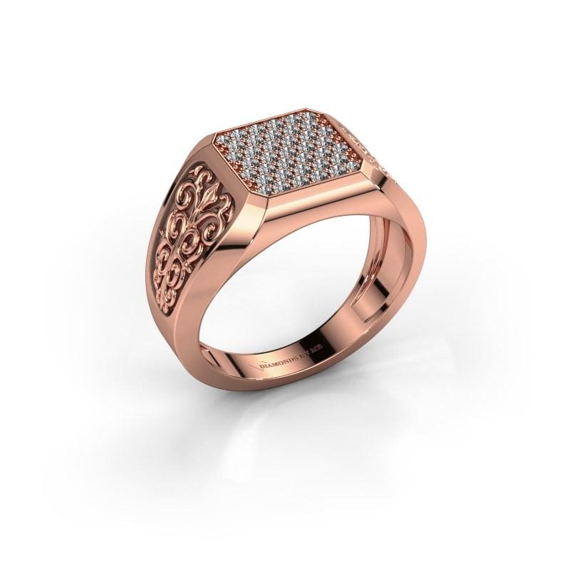 Heren ring Amir 375 rosé goud diamant 0.468 crt