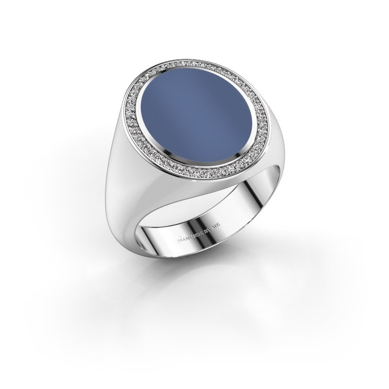 Zegelring Adam 4 585 witgoud blauw lagensteen 15x12 mm