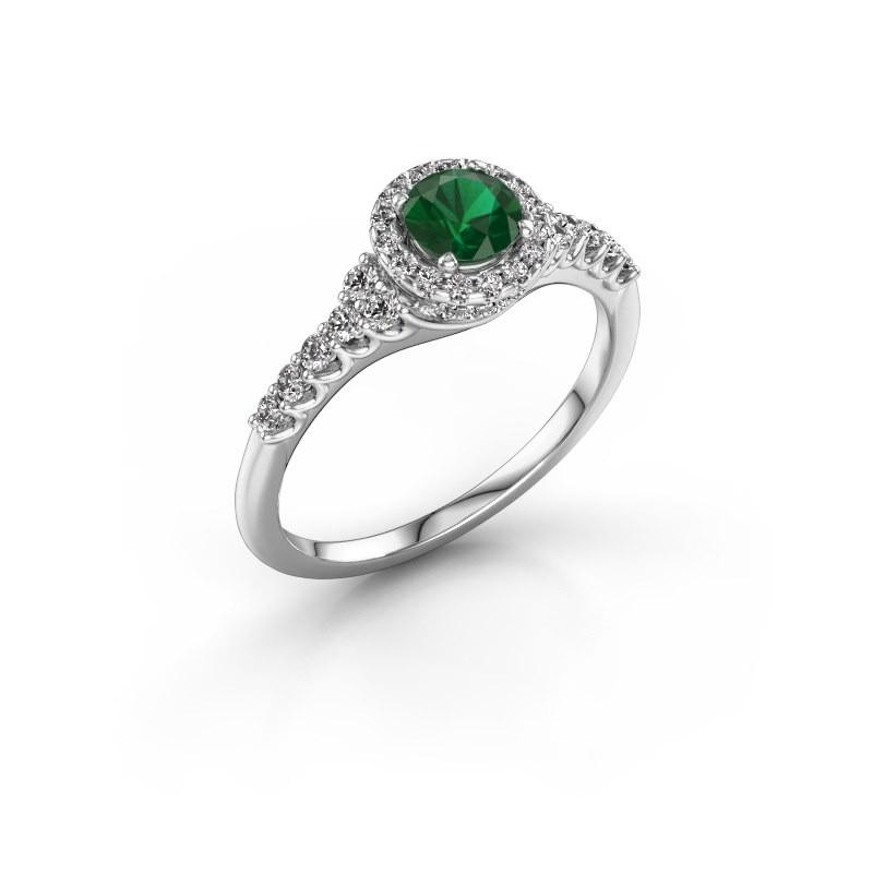 Verlovingsring Loralee 585 witgoud smaragd 5 mm