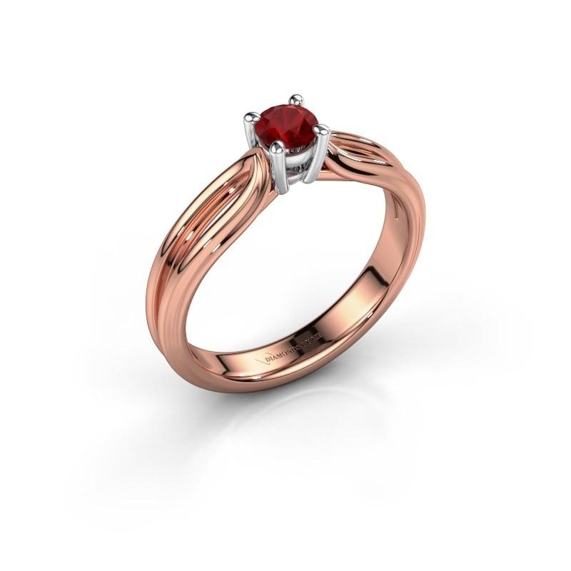 Verlovingsring Antonia 1 585 rosé goud robijn 4 mm