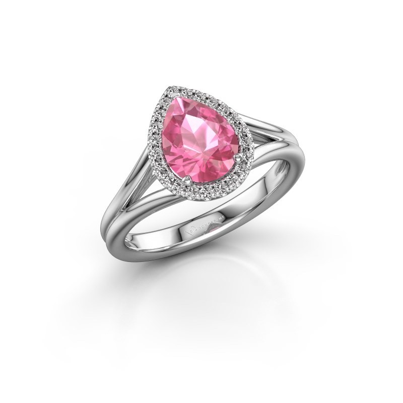 Verlovingsring Verla pear 1 950 platina roze saffier 8x6 mm