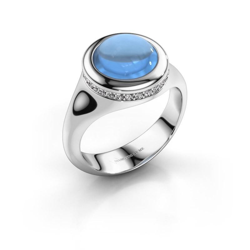 Ring Lesli RND 585 witgoud blauw topaas 10 mm