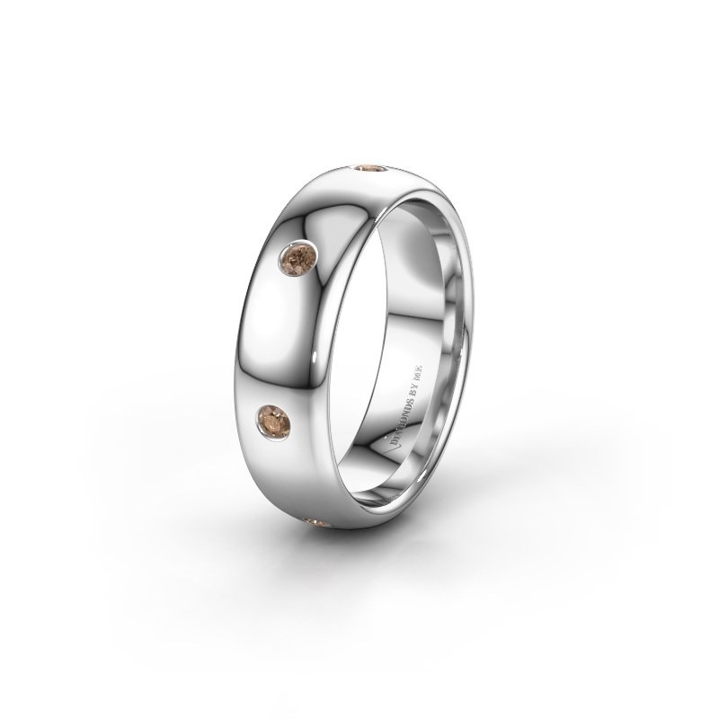 Wedding ring WH0105L36BP 925 silver brown diamond ±6x2 mm