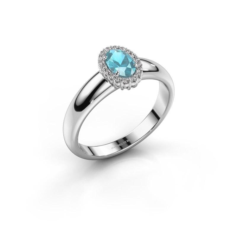Engagement ring Tamie 950 platinum blue topaz 6x4 mm