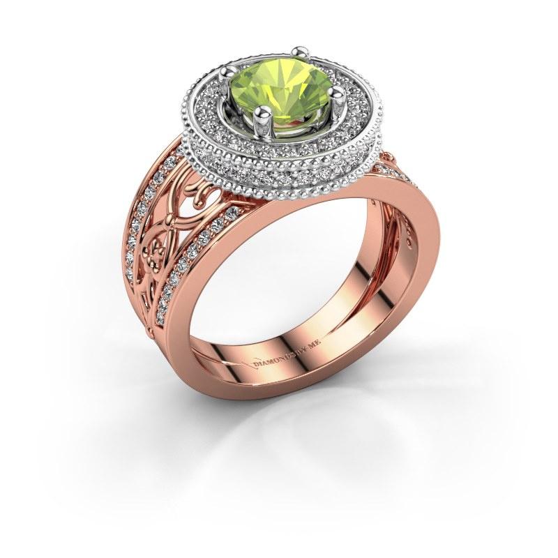 Ring Joy 585 rosé goud peridoot 6.5 mm