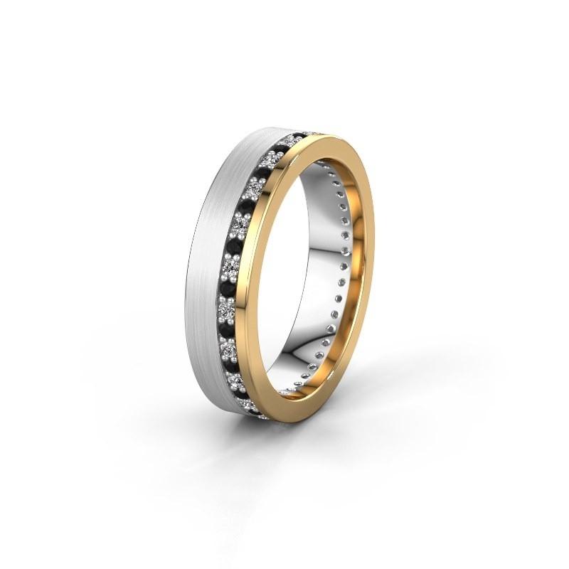 Trouwring WH0303L15BPM 585 witgoud zwarte diamant 0.484 crt ±5x2 mm
