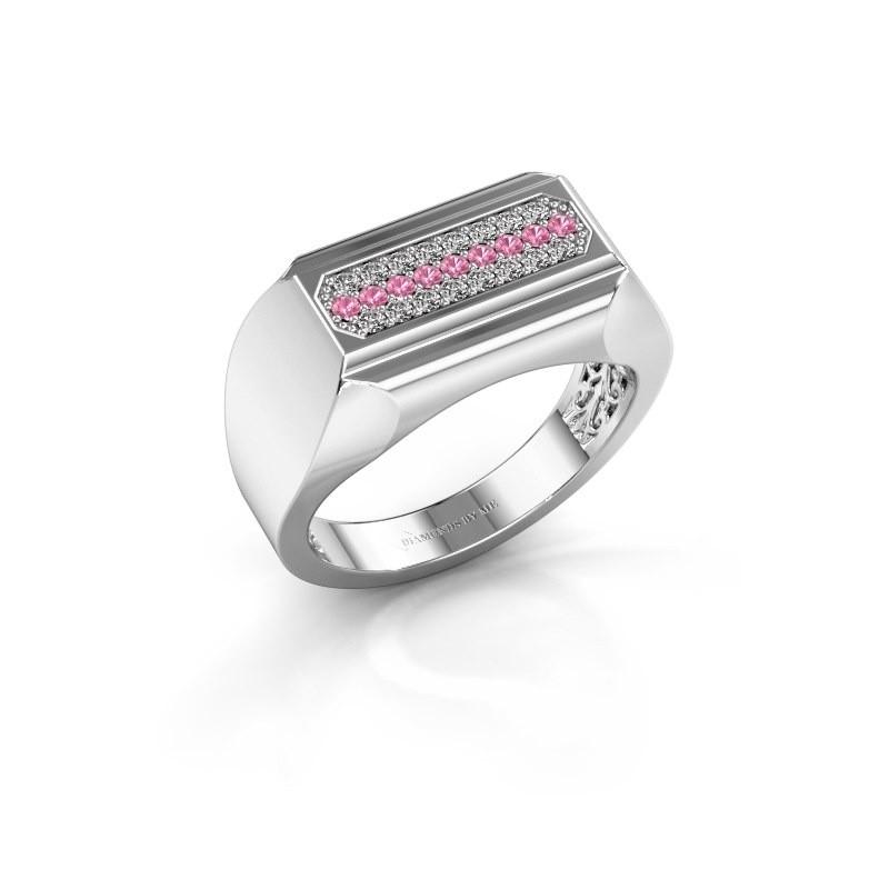 Heren ring Gerard 585 witgoud roze saffier 1.4 mm