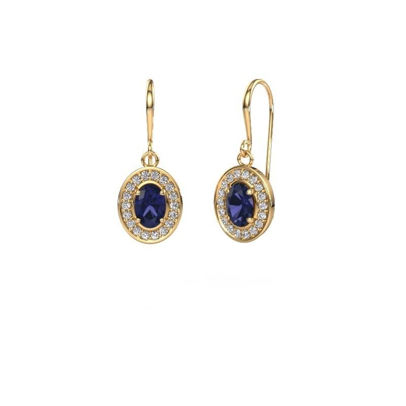 Drop earrings Layne 1 375 gold sapphire 6.5x4.5 mm