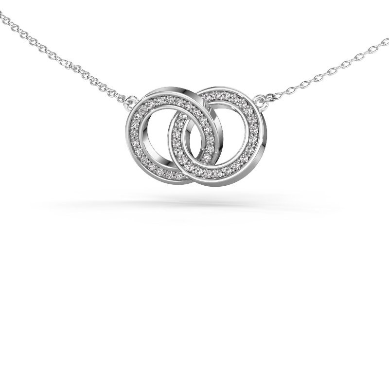 Halsketting Circles 2 585 witgoud diamant 0.25 crt