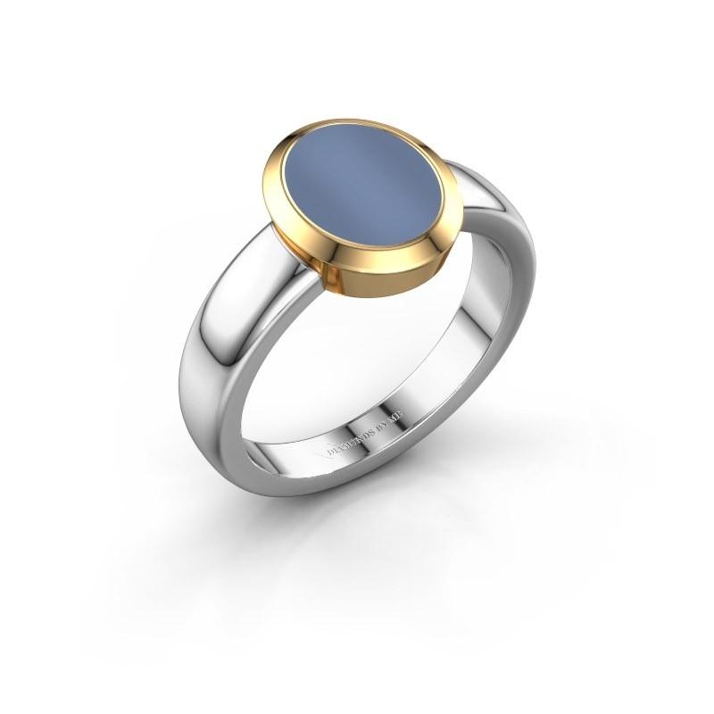 Zegelring Oscar 1 F 585 witgoud licht blauwe lagensteen 10x8 mm