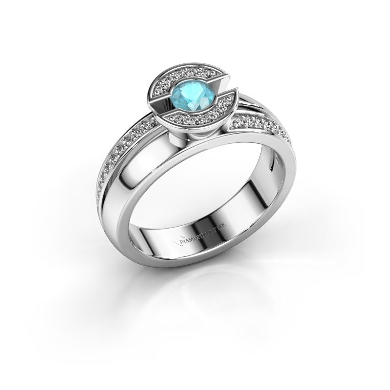 Ring Jeanet 2 585 witgoud blauw topaas 4 mm