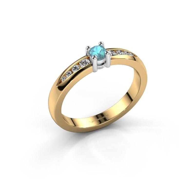 Verlovingsring Zohra 585 goud blauw topaas 3 mm