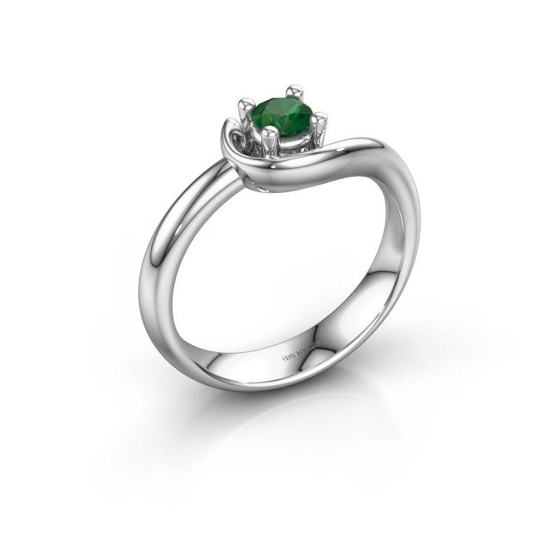Ring Lot 925 zilver smaragd 4 mm
