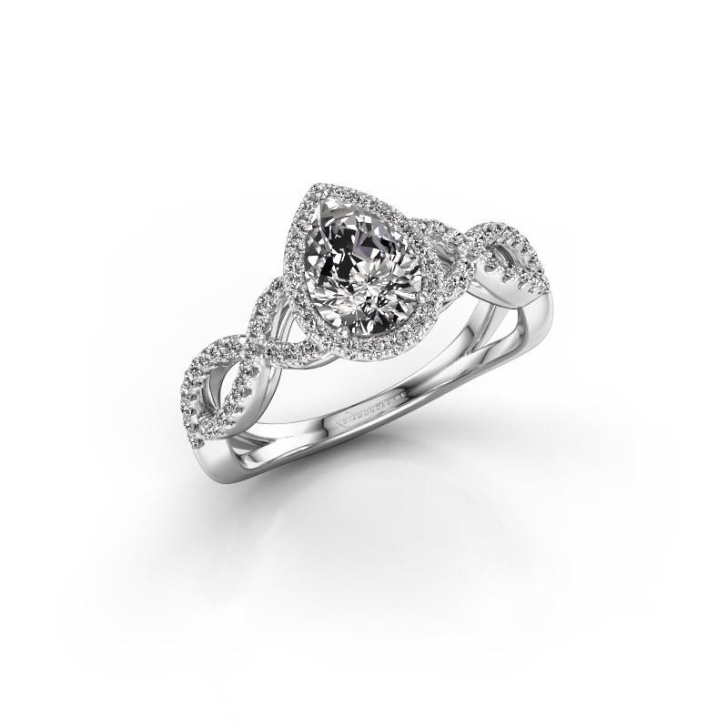 Verlovingsring Dionne pear 950 platina diamant 0.99 crt