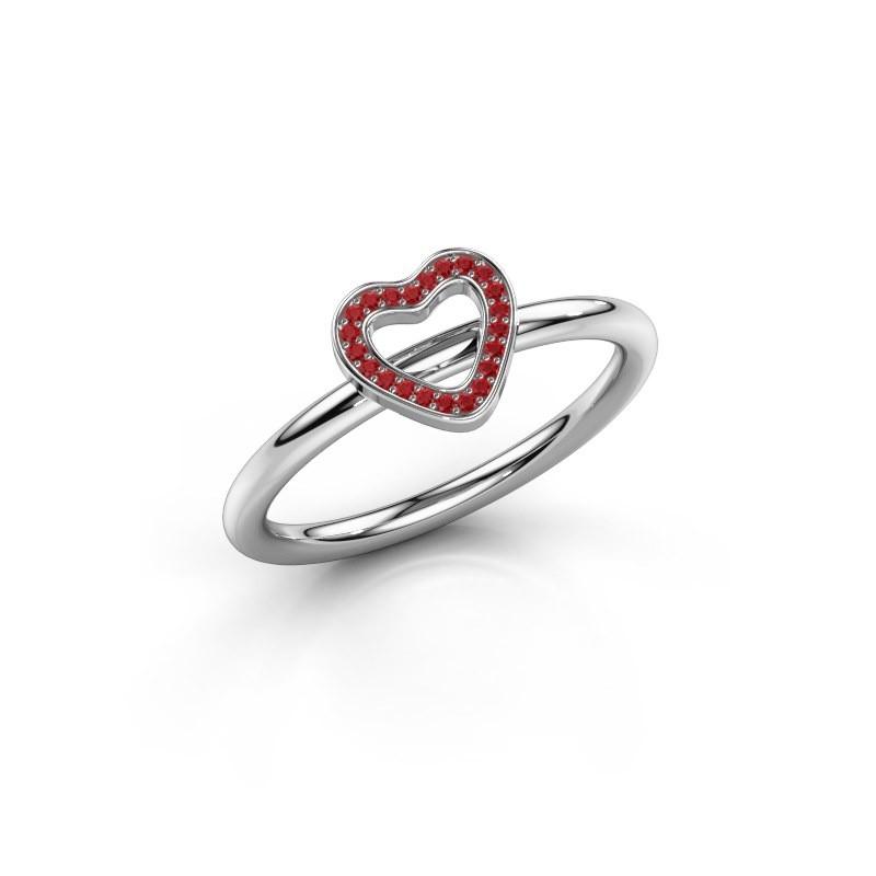 Ring Shape heart small 925 zilver robijn 0.8 mm
