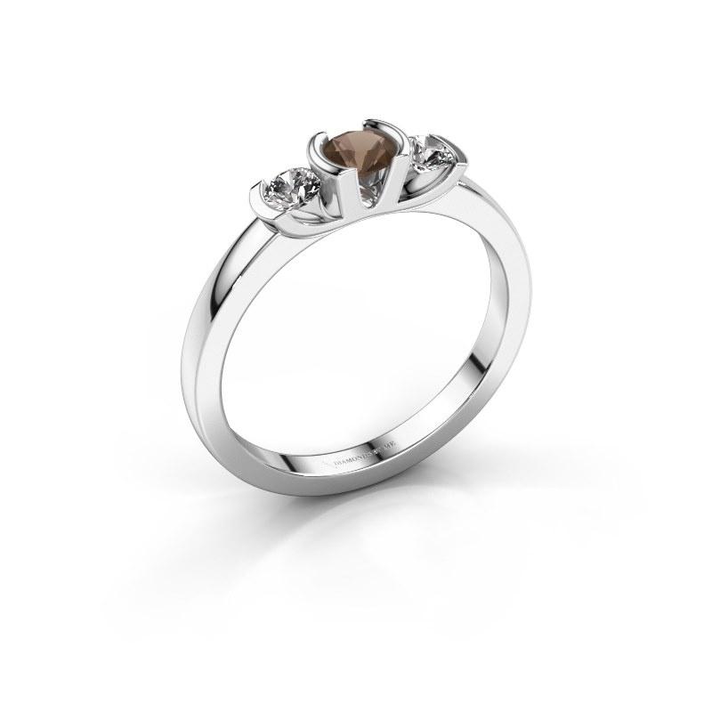 Ring Lucia 950 platinum smokey quartz 3.7 mm