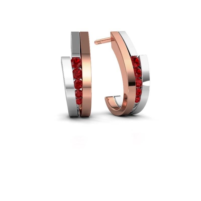 Oorbellen Cato 585 rosé goud robijn 2.2 mm