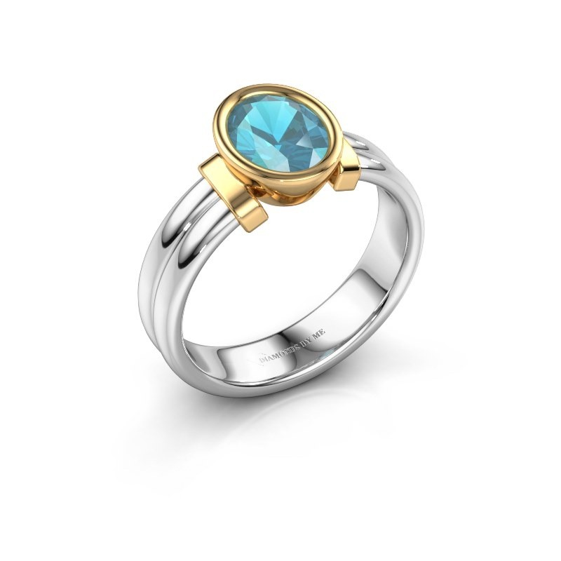 Ring Gerda 585 witgoud blauw topaas 8x6 mm