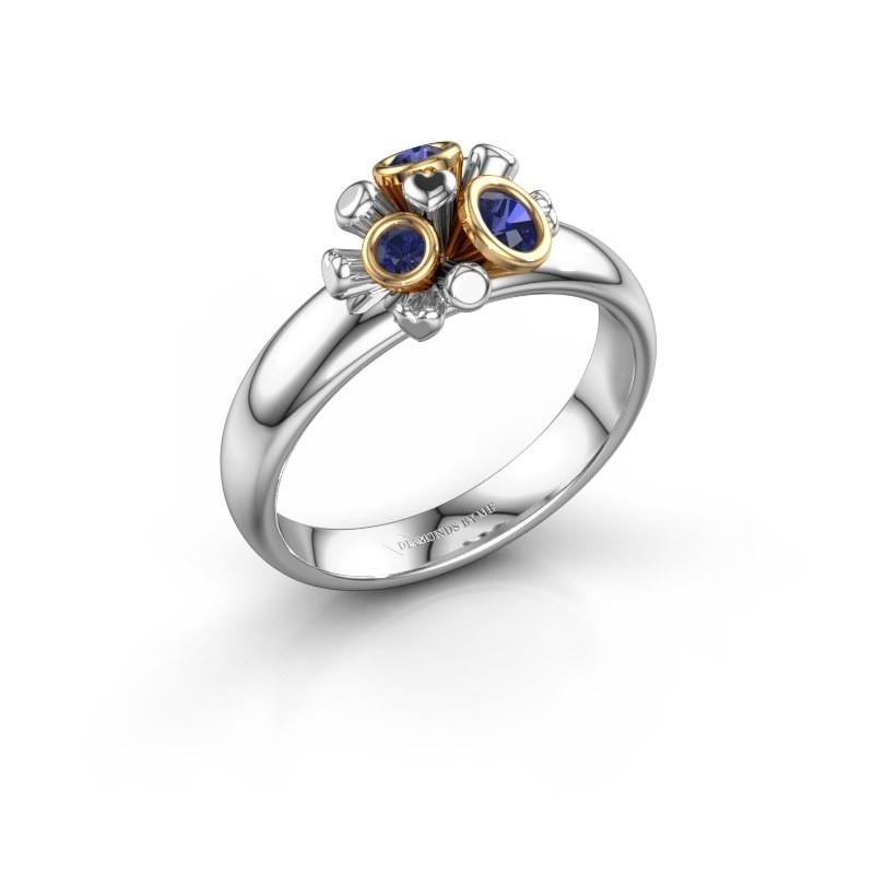Ring Pameila 585 witgoud saffier 2 mm
