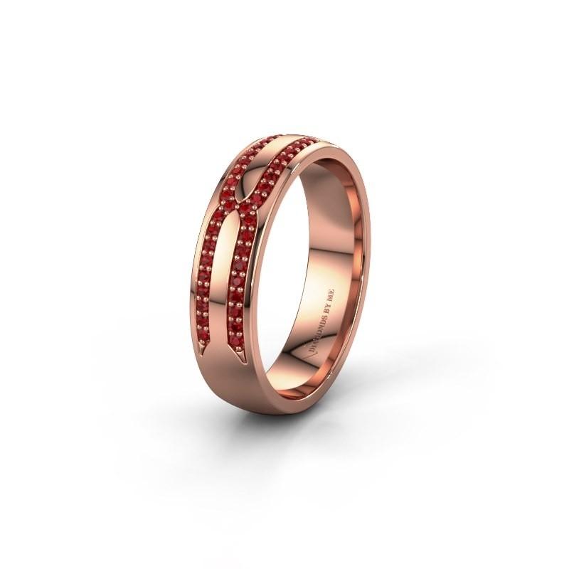 Trouwring WH2212L25AP 375 rosé goud robijn ±5x1.7 mm