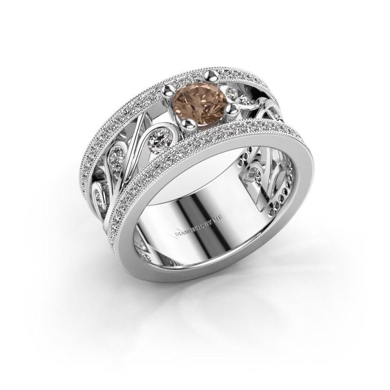Ring Sanne 585 witgoud bruine diamant 1.30 crt