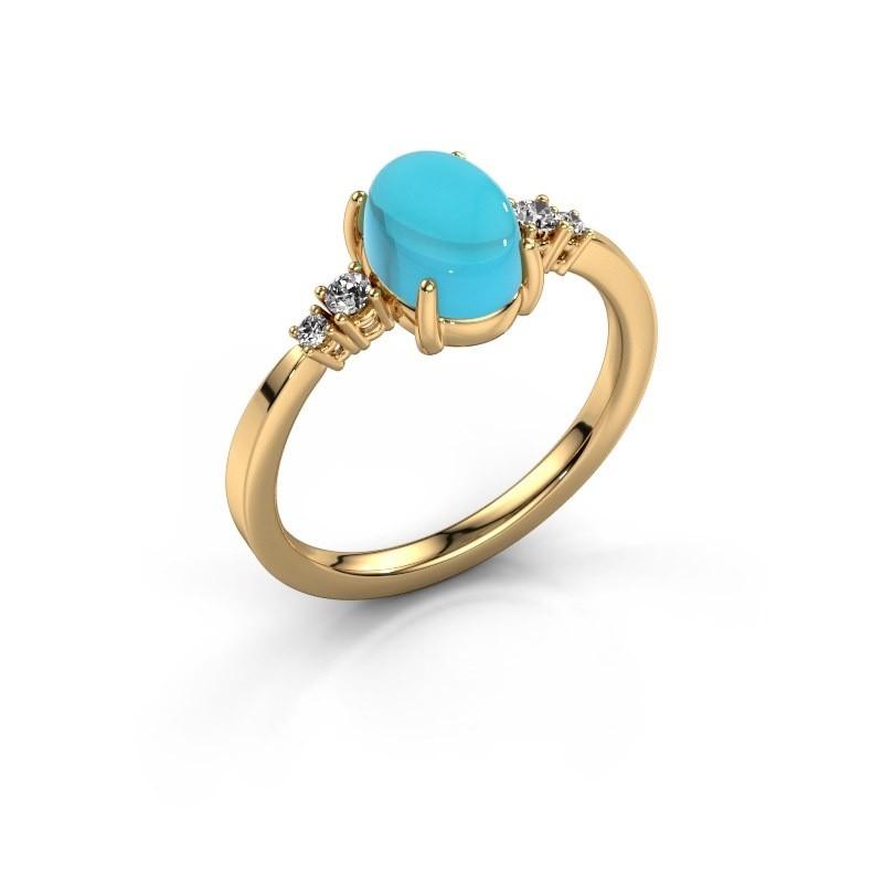 Ring Jelke 585 goud blauw topaas 8x6 mm