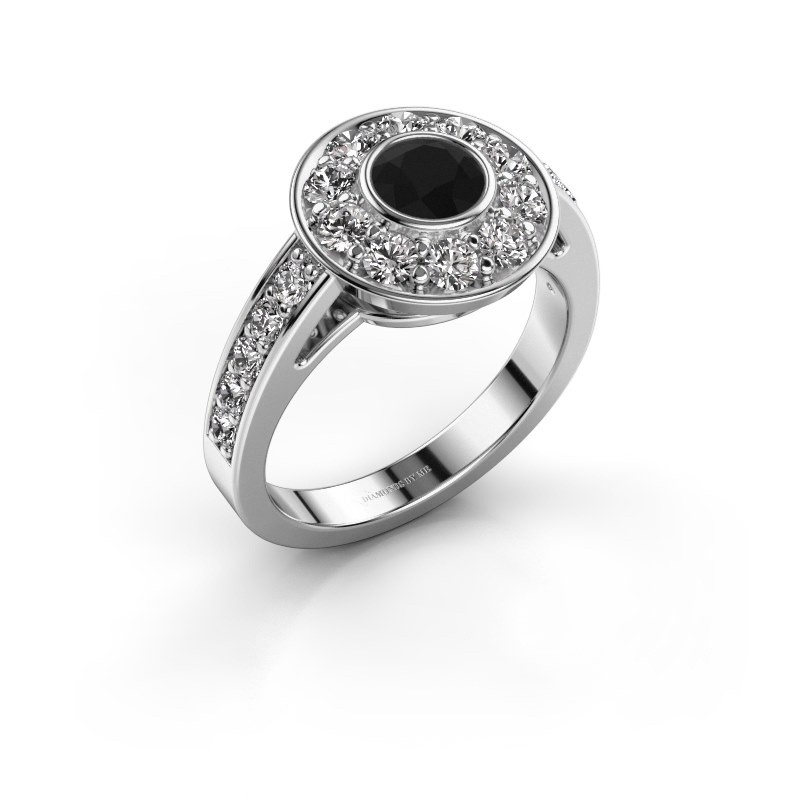 Verlovingsring Raven 2 585 witgoud zwarte diamant 1.45 crt