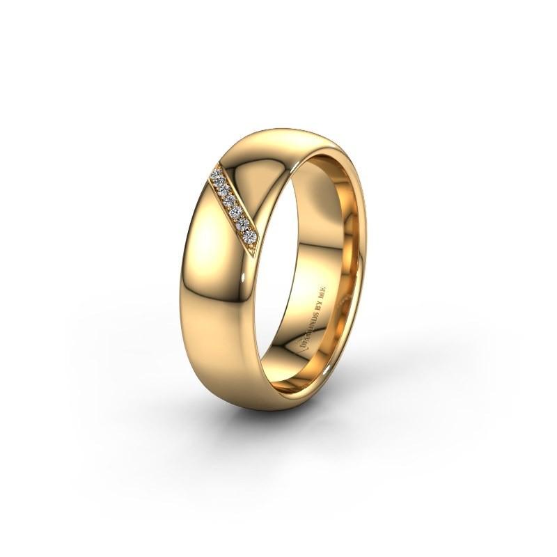 Trouwring WH0164L36B 585 goud diamant ±6x2 mm