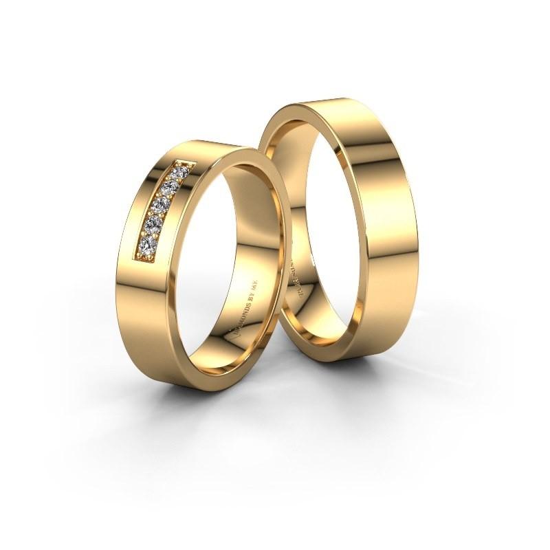 Trouwringen set WH0111LM15AP ±5x2 mm 14 karaat rosé goud diamant 0.012 crt