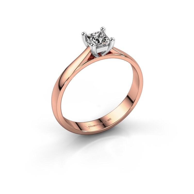 Engagement ring Sam Square 585 rose gold diamond 0.40 crt