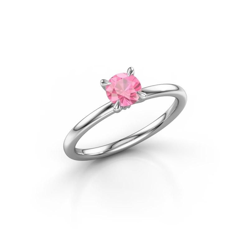 Verlovingsring Crystal RND 1 925 zilver roze saffier 5 mm