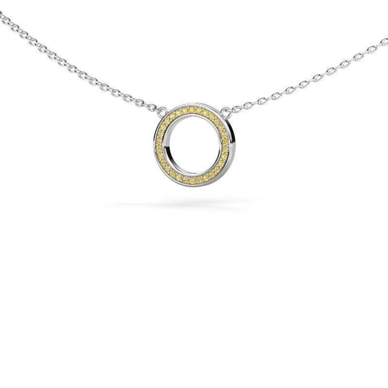 Hanger Round 1 925 zilver gele saffier 0.8 mm