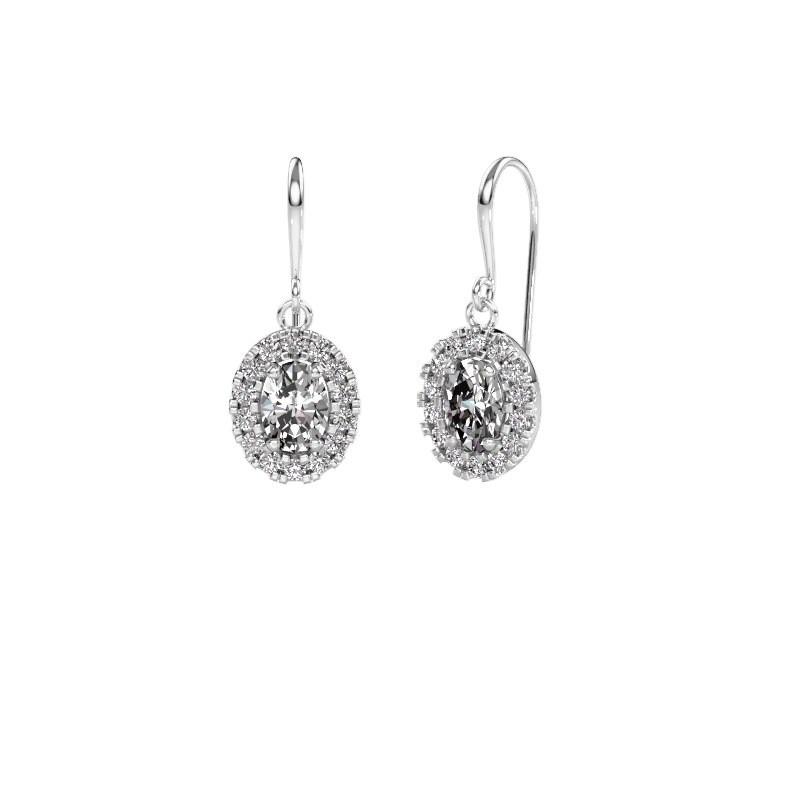 Drop earrings Jorinda 1 375 white gold zirconia 7x5 mm