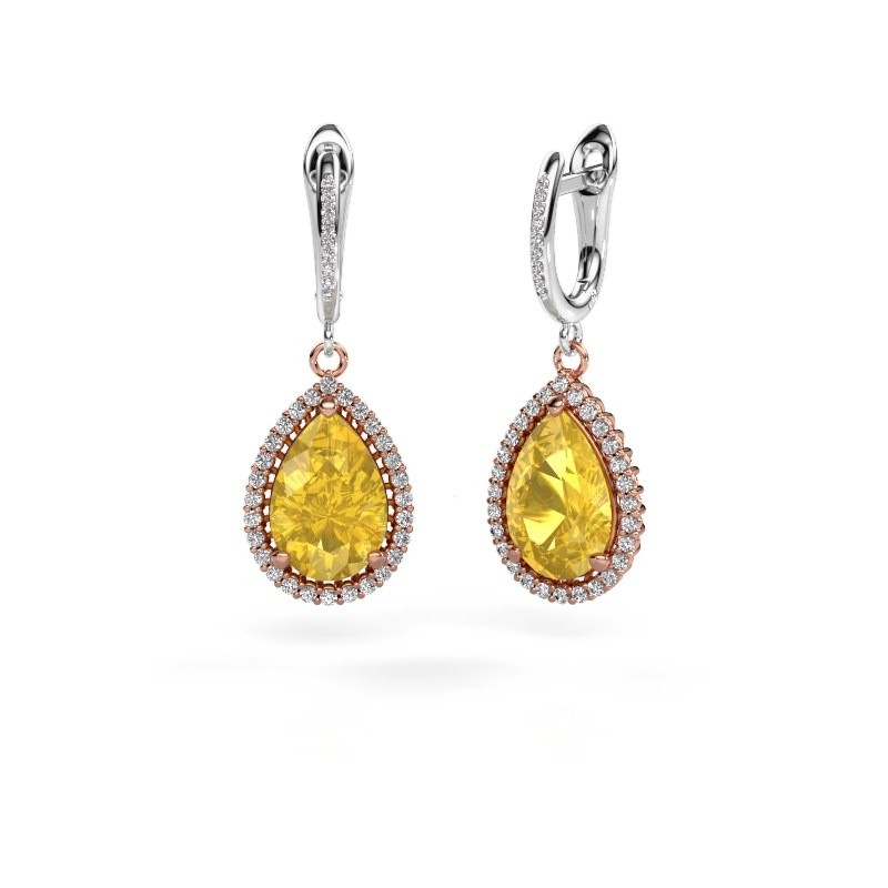 Drop earrings Tilly per 4 585 rose gold yellow sapphire 12x8 mm