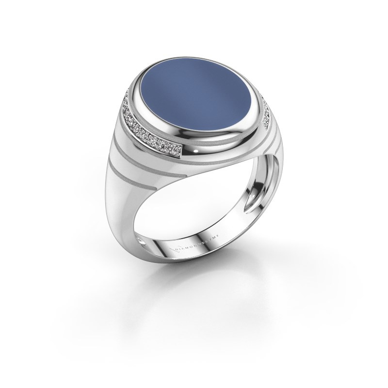 Siegelring Luuk 925 Silber Blau Lagenstein 15x12 mm